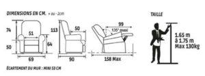 Dimensions fauteuil releveur dublin 2 moteur