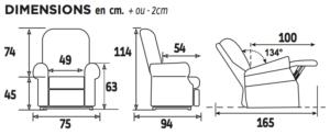 Dimensions Fauteuil releveur Cassis 2 moteurs gris