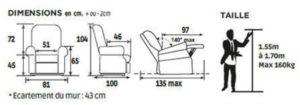 Dimensions fauteuil releveur confort classic 1 moteur